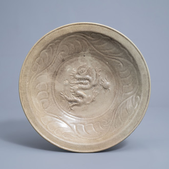 A Chinese celadon 'dragon' charger, Ming or later