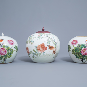 Two Chinese qianjiang cai jars and covers and a jar with a bird among blossoming branches, 19th/20th C.