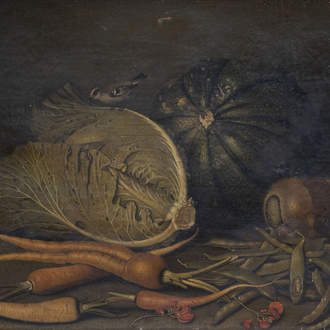 German school: Still life with vegetables and a bird, oil on canvas, 18th C.