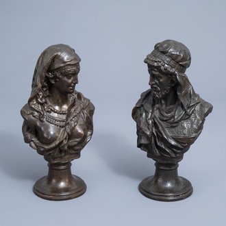 Johannes Boese (1856-1917, after): A pair of busts of a Moorish man and woman, bronze patinated copper alloy, dated 1884