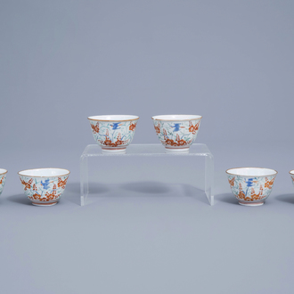 Six Japanese Kakiemon cups with parrots among blossoming branches, Edo, 18th C.