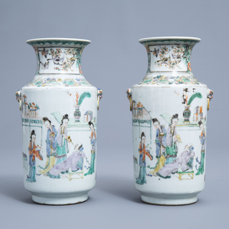 A pair of Chinese famille verte vases with figurative design all around, 19th C.