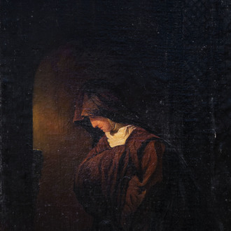 Jozef Bellemans (1816-1888): The prayer, oil on canvas marouflated on panel, dated 1852