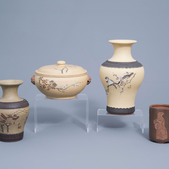 Two Chinese Yixing stoneware vases, a bowl with cover and a brush pot, 19th/20th C.