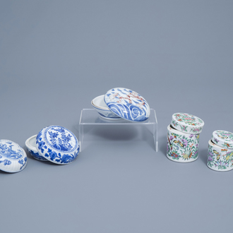 Five Chinese famille rose, blue, white and copper red boxes and covers, Kangxi and later