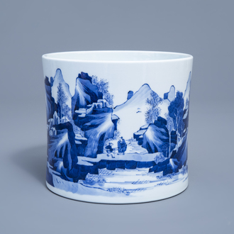 A Chinese blue and white brush pot with a fine landscape, 19th/20th C.