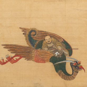 Chinese school, ink and colours on silk, 19th/20th C.: Immortals and their servants