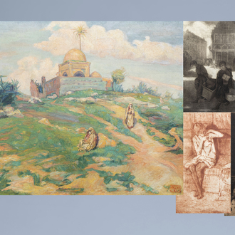 François Pycke (1890-1960): An animated oriental landscape, oil on canvas, dated 1923 & four graphic works by Fr. Pycke and J. Delvin