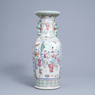 A Chinese famille rose vase with floral and figurative design, 19th C.