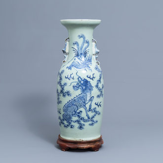 A Chinese blue and white celadon ground 'phoenix and qilin' vase, 19th C.