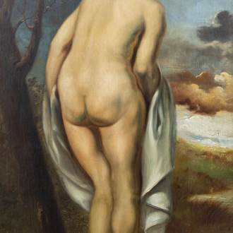 Belgian school: Naked young woman seen from behind, oil on board, 20th C.