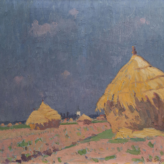 Octave Soudan (1872-1947): 'Lathem Kouter oogstmorgend', oil on canvas, dated (19)27