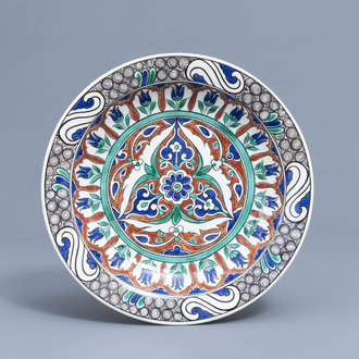 A polychrome Iznik style charger with floral design, Boch Frères Keramis, 19th C.