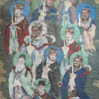 Chinese school, ink and colours on silk, Qing: Heavenly kings