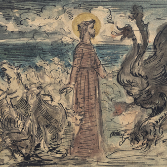 Attributed to Emile Salkin (1900-1977): 'Le Christ défendant son troupeau', ink and watercolour on paper