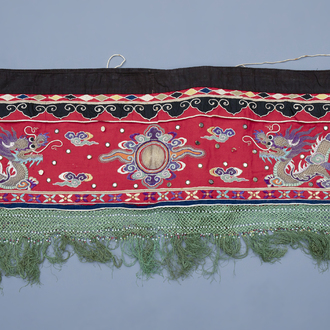 A long Chinese embroidered altar cloth with dragon design, 19th/20th C.