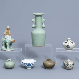 A varied collection of Chinese blue, white and celadon porcelain, Ming and later