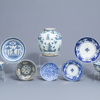 Eight blue and white Persian pottery wares, including Safavid and Qajar, 17th C. and later