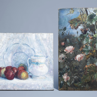 Belgian school (19th/20th C.): Still lifes with flowers and fruit, oil on canvas