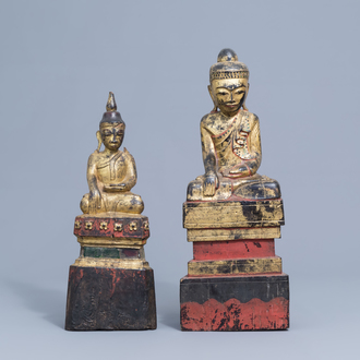 Two large gilt lacquered wooden figures of Buddha, Burma or Laos, 19th/20th C.
