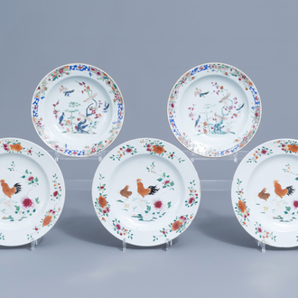 Five Chinese famille rose plates with birds and chickens among blossoming branches, Qianlong