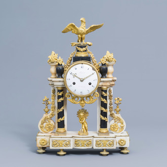 A French Louis XVI gilt bronze mounted white and black marble portico clock with an eagle, ca. 1800