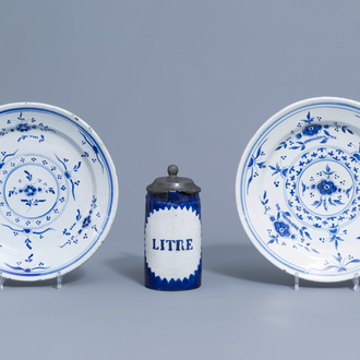 Two blue and white Brussels faience plates and a beer mug, 19th C.