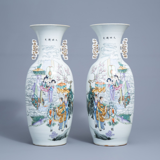 A pair of Chinese famille rose vases with Immortals and travellers with a donkey, 19th/20th C.