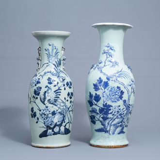 Two Chinese blue and white celadon vases with birds and phoenixes among blossoming branches, 19th C.