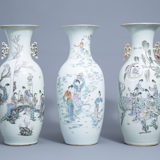 Three various Chinese famille rose vases with ladies, 19th/20th C.