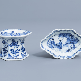 A Chinese blue and white salt and a 'Romance of the Western Chamber' spoon tray, Kangxi