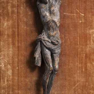 A carved and patinated wooden Corpus Christi, the Low Countries, 17th C.