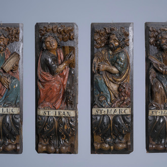 The four Evangelists in carved and polychrome painted wood, possibly southern France, ca. 1700