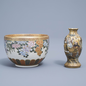 A Japanese Satsuma bowl with floral design and a narrative vase, Meiji, 19th C.