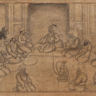 Indian school, white and gilt heightened pencil on paper: a miniature with a ceremony, 19th/20th C.