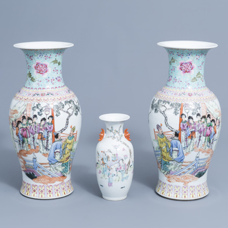 A pair of Chinese famille rose vases with ladies playing music on a terrace and a vase with figures in a landscape, 19th/20th C.