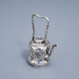 A Chinese silver teapot and cover, ca. 1900