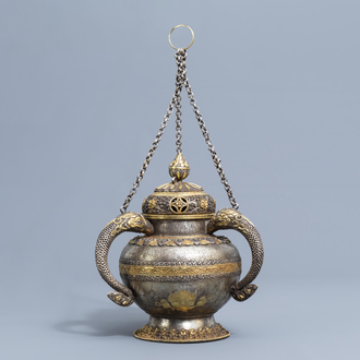 A Sino-Tibetan partly gilt silver incense burner and cover, 19th/20th C.