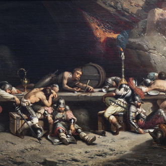 Attributed to Jan Michiel Ruyten (1813-1881): After the raid, oil on canvas