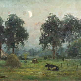 Auguste Breugelmans (19th/20th C.): A landscape with cattle and a hay stack, oil on canvas