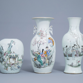 Two Chinese famille rose vases and a ginger jar with figures in a garden, 19th/20th C.