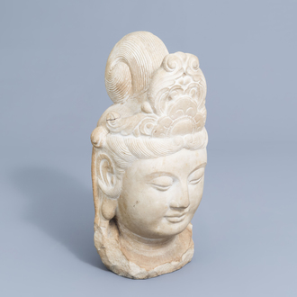 A Chinese white marble head of Guanyin, Northern Qi-style, 20th C.