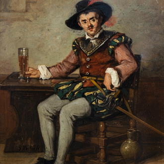 Wilhelm Koller (1829-1884, in the manner of): 'Le gentilhomme', oil on panel, dated (18)77