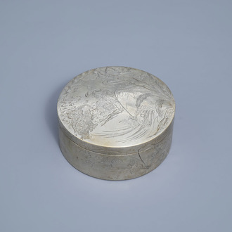 A Chinese paktong box and cover with figures in a landscape, 19th/20th C.