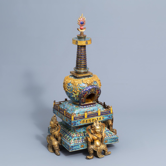 A large two-piece Chinese cloisonné stupa supported by four demons, Qianlong mark, 20th C.