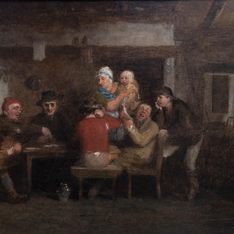 Attributed to David Wilkie (1785-1841): The card players, oil on canvas