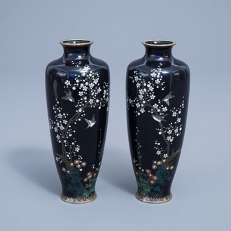 A pair of fine Japanese cloisonné vases with birds among blossoming branches, Meiji, 19th C.