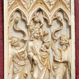A French Gothic style carved ivory panel with the Coronation of the Virgin, 19th C. or earlier