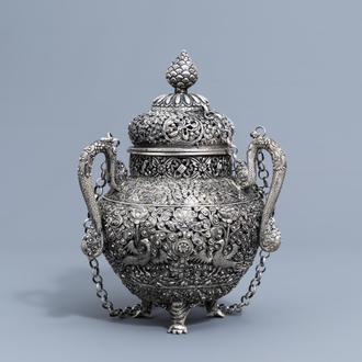 A Sino-Tibetan reticulated silver incense burner and cover, 19th/20th C.