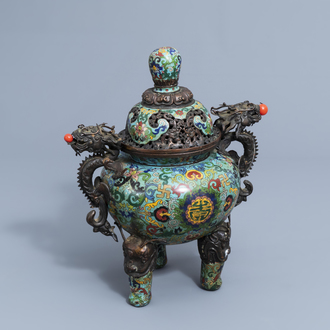 A Chinese cloisonné tripod incense burner and cover with dragon relief design, 20th C.